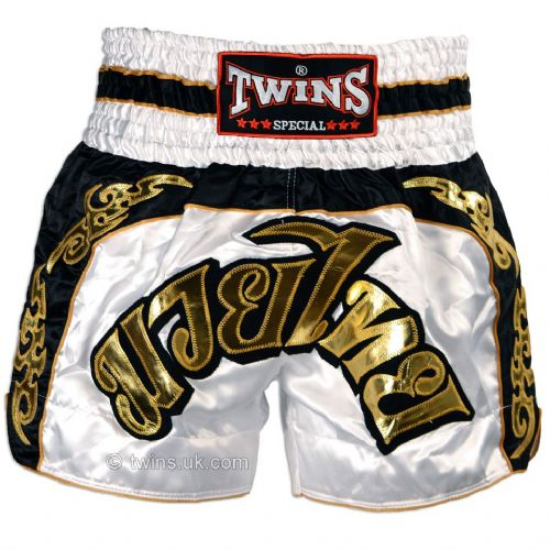 Twins TWS-896 White/Gold Muay Thai Shorts